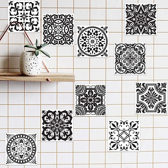 15cm15cm QueenHome Pack Of 10 Piece Waterproof Wallpaper Mosaic Style Tile Transfers Stickers Kitchen Bathroom Tile Washable 20cm20cm