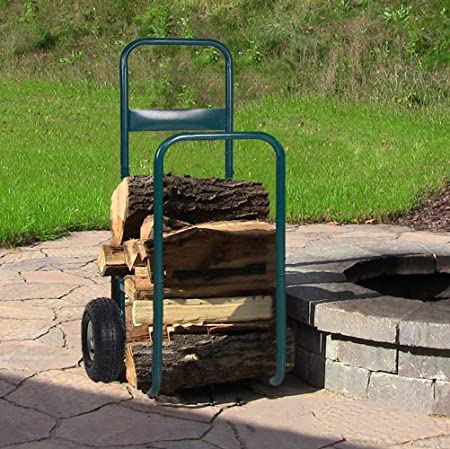 Dporticus Rolling Wheeled Firewood Log Cart Portable Log Rack with Wheels for Backyard Patio Garden Green Small