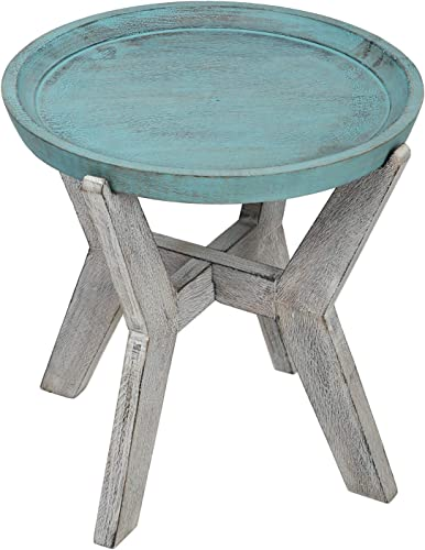 SAVON Serving Table Wood Side end Round Blue Rustic Wooden Tray Collapsible Distressed