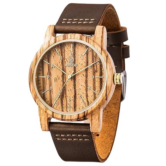 c1bd17c3 Reloj Madera Hombre, MUJUZE Natural De Madera Del Reloj De Cuero Reloj  Único Texturas Regalos