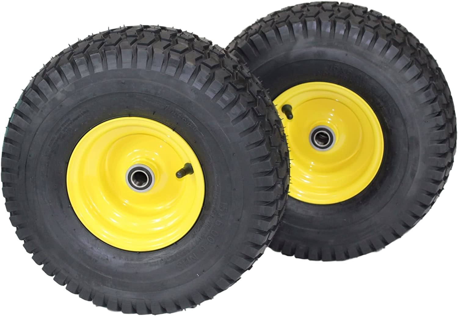 "(Set of 2) 15x6.00-6 Tires & Wheels 4 Ply for Lawn & Garden Mower Turf Tires .75"" Bearing 71a5Gp4teQLSL1500_"