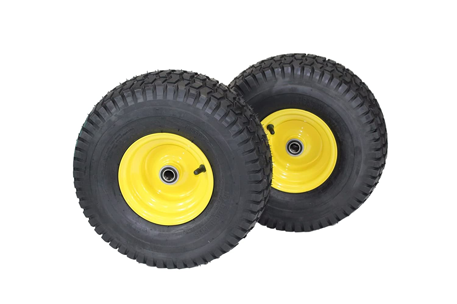 "(Set of 2) 15x6.00-6 Tires & Wheels 4 Ply for Lawn & Garden Mower Turf Tires .75"" Bearing"