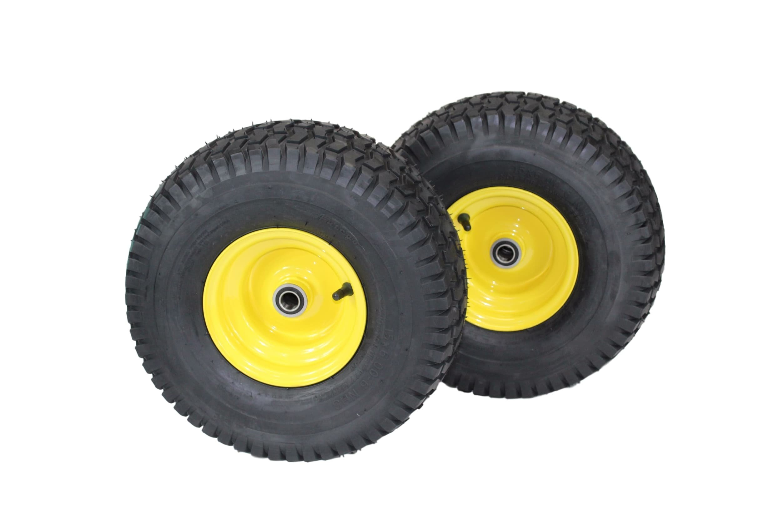 (Set of 2) 15x6.00-6 Tires & Wheels 4 Ply for Lawn & Garden Mower Turf Tires .75'' Bearing