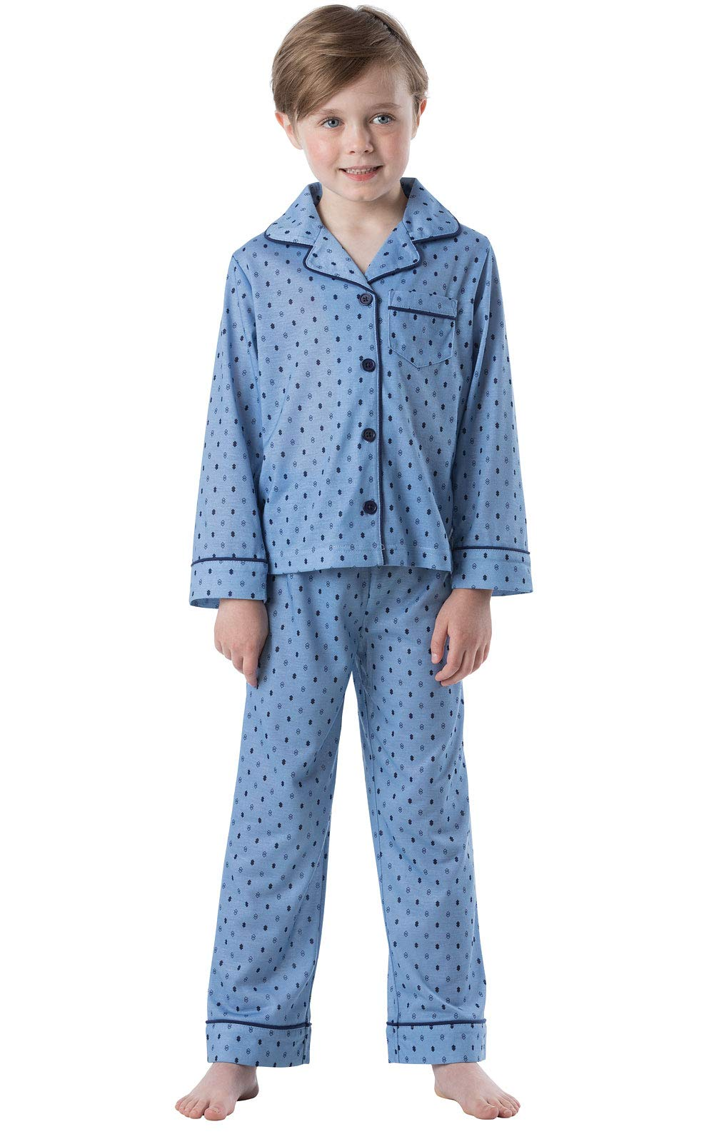 PajamaGram Big Boys' Pajamas Jersey - 2 Piece Long Sleeve Pajamas for Boys Blue
