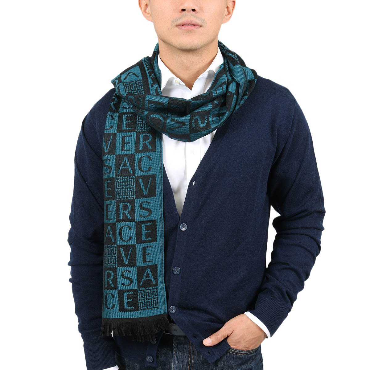 Versace IT00629 PETROLIO Teal 100% Wool Mens Scarf