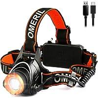 OMERIL Linterna Frontal LED, Linterna Cabeza USB Recargable