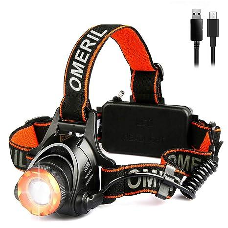 OMERIL Linterna Frontal LED, Linterna Cabeza USB Recargable con 2 Baterías - 4000mAh, Zoomable y Ajustable Luz Frontal con 3 Modos, Frontal LED para ...