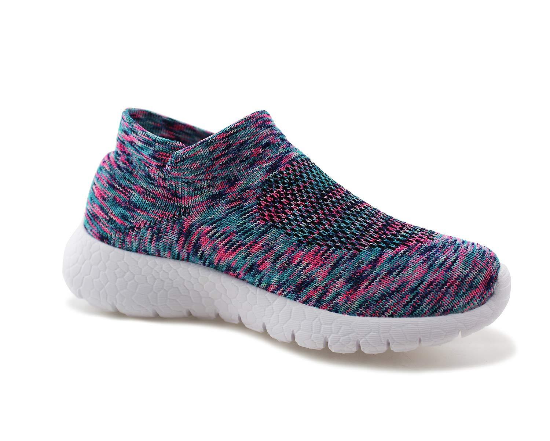Jabasic Kids Walking Shoes Boys Girls Breathable Slip On Knit Sock Sneakers (Multicolor,1) by Jabasic (Image #3)