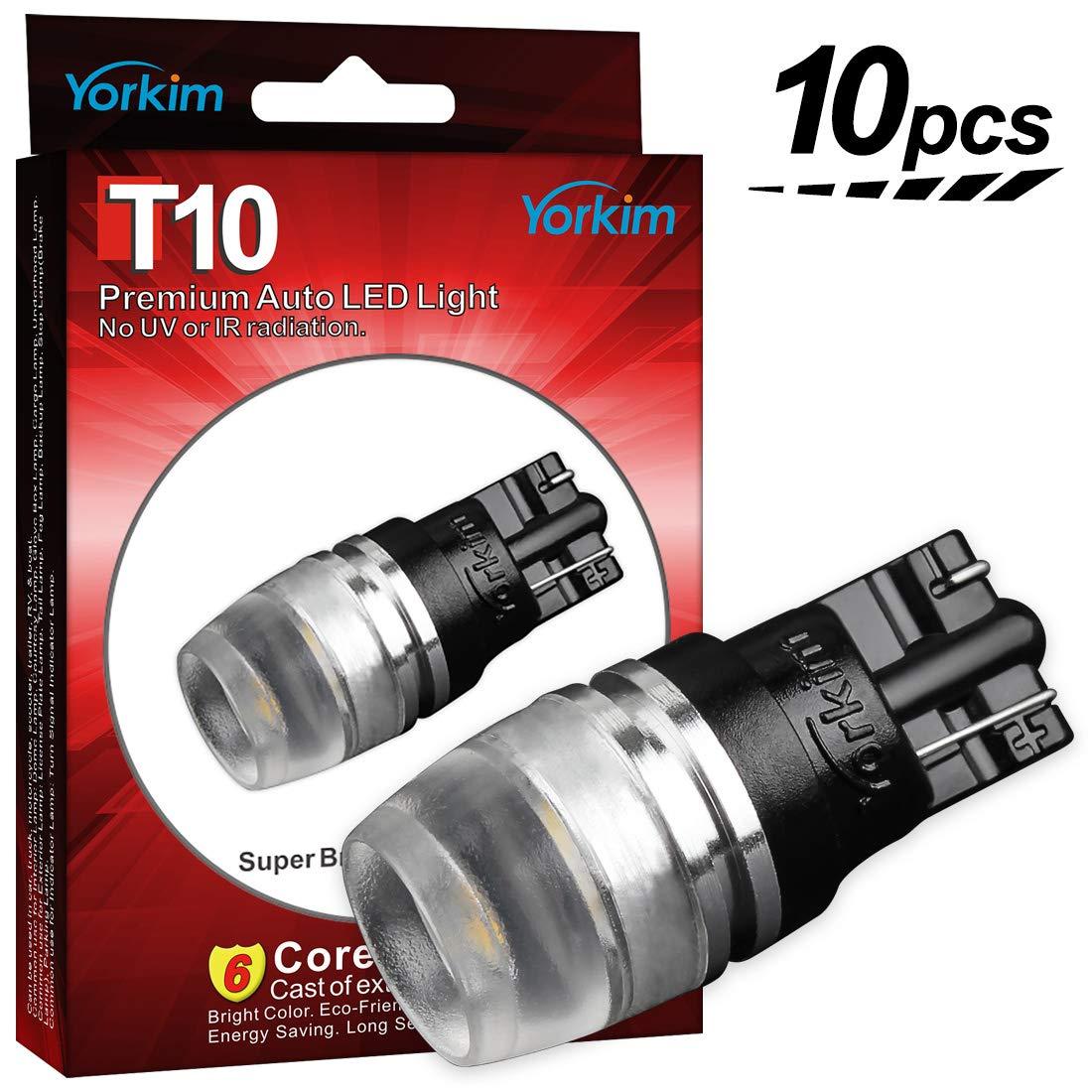 Yorkim T10 LED Light Bulb, High Power Samsung Chips T10 Bulbs for 168 194 W5W 2825 T10 Wedge, White T10 Light Bulb, 168 LED Bulb White, 194 LED Bulb White for Car, Pack of 10 - White