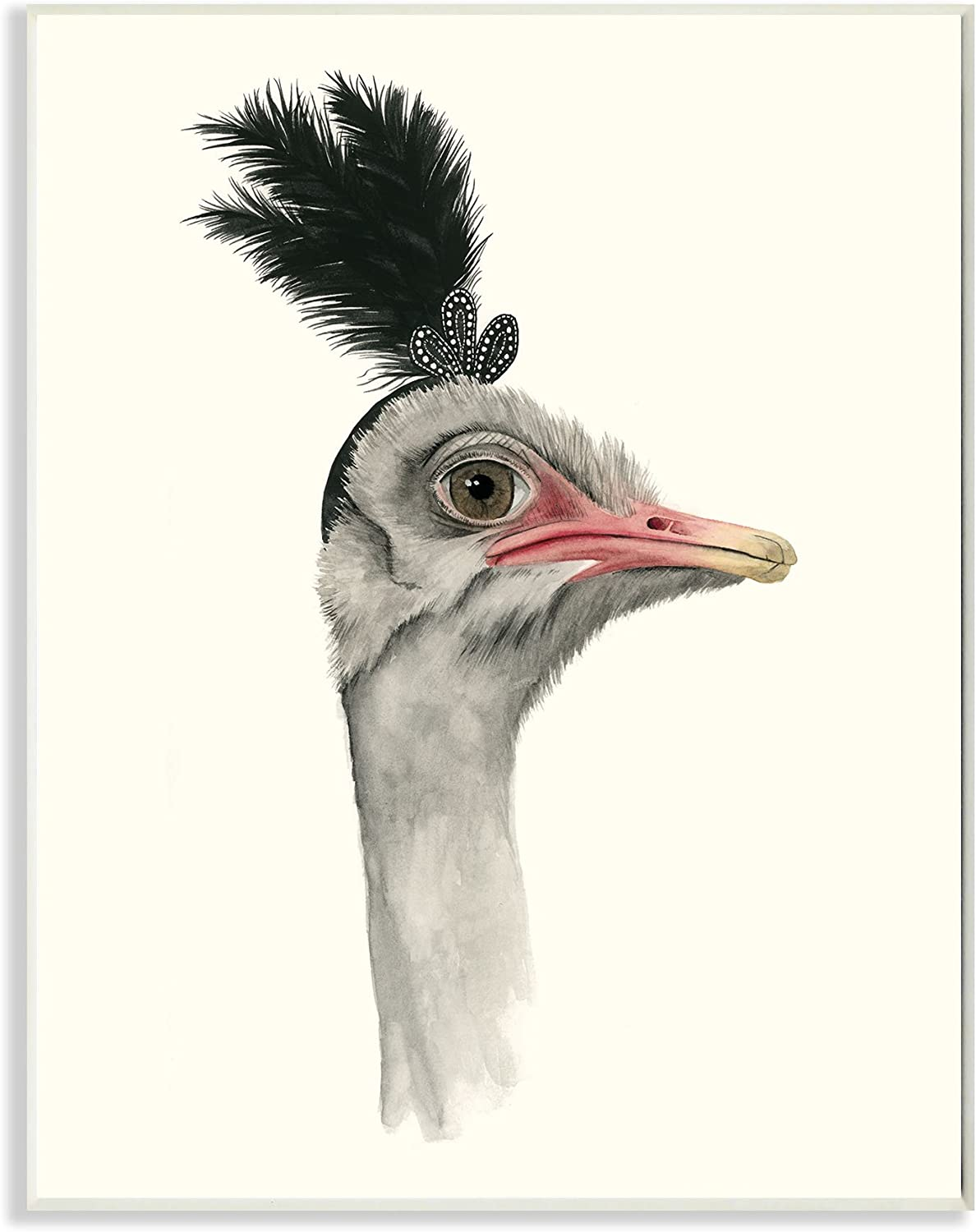 Stupell Home Décor Downton Animals Dowager Ostrich Wall Plaque Art, 10 x 0.5 x 15, Proudly Made in USA