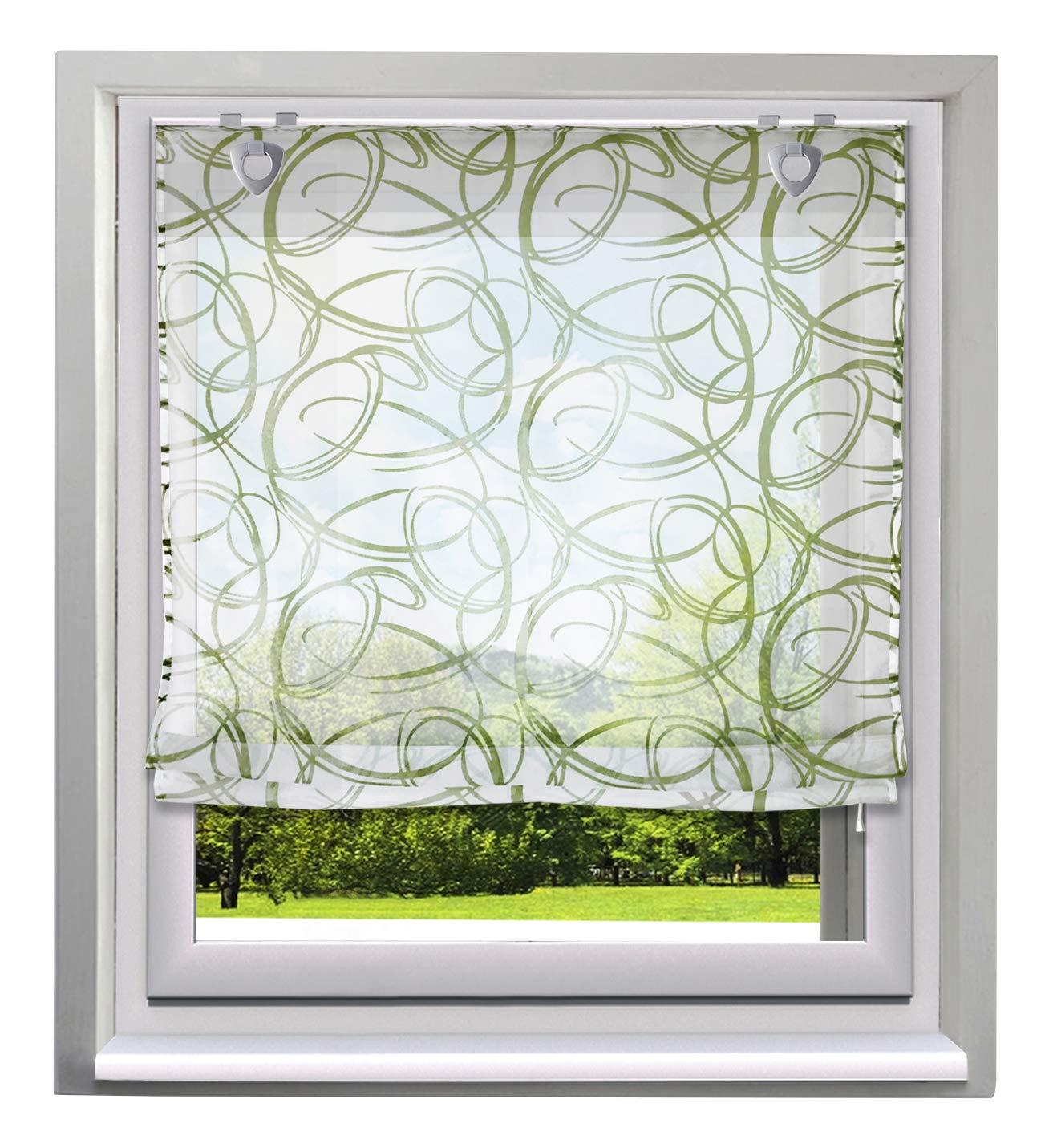 Bailey Jo 1Pc Store Romain Transparent avec Impression Rideau Voilage Raffrollo Décoration de Fenêtre Chambre/Balcon/ Cuisine (LxH/60x140cm, Courbe Gris Vert-Pattes)