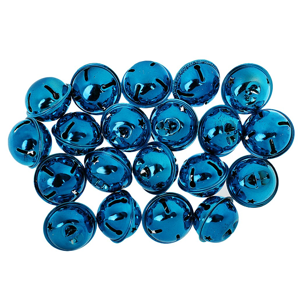 Light Blue MonkeyJack 20pcs 35mm Large Metal Jingle Bell for DIY Crafts Pet Dog Lanyard Pendants