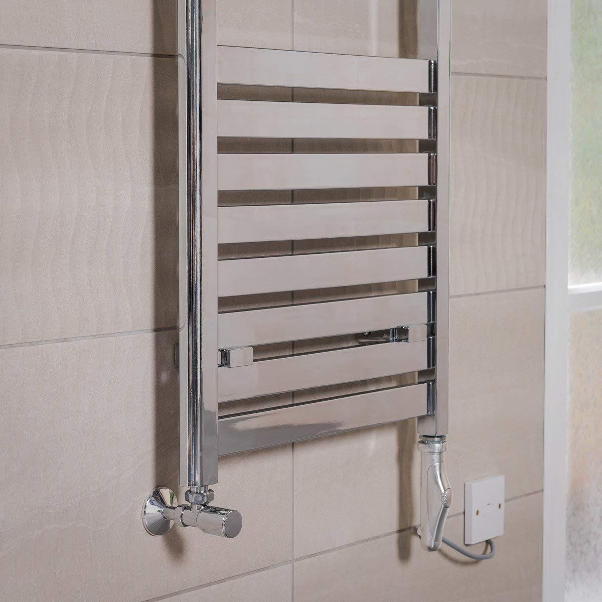Chrome WarmeHaus Designer Flat Panel Bathroom Electric Heated Towel Rail Radiator Kit 1200 x 500