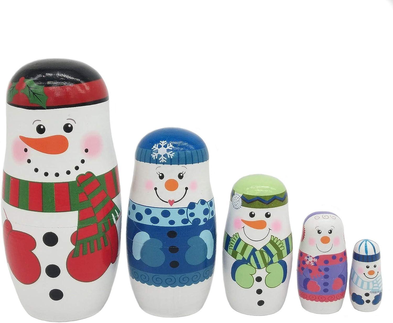 Konrisa Nesting Dolls 5 Piece Set Snowman Matryoshka Russian Nesting Dolls for Girls Boys Wooden Stacking Toys Hand Painted Figurines Home Decor Birthday Party New Year
