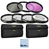 Vivitar 62mm High resolution Pro series Multi Coated HD 3 Pc. Digital Filter Set + 62mm Pro Series High Quality 4pc HD Macro Close Up Filter Set +1 +2 +4 +10 + eCost Microfiber Cleaning Cloth