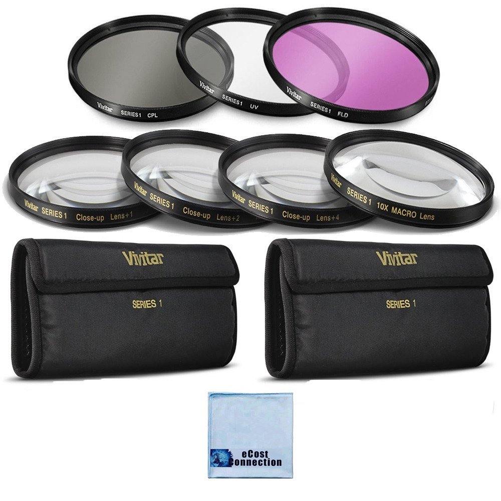 Vivitar 62mm High resolution Pro series Multi Coated HD 3 Pc. Digital Filter Set + 62mm Pro Series High Quality 4pc HD Macro Close Up Filter Set +1 +2 +4 +10 + eCost Microfiber Cleaning Cloth by eCostConnection