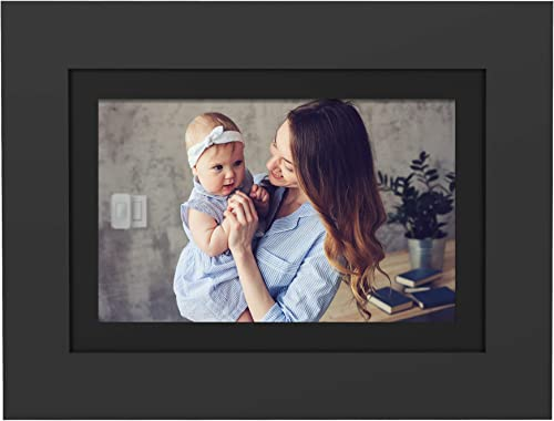 PhotoShare Friends and Family Smart Frame 8 Digital Photo Frame, Send Pics from Phone to Frame, Wi-Fi, 8 GB, Holds Over 5,000 Photos, HD, 1080P, Black White Mattes, iOS, Android