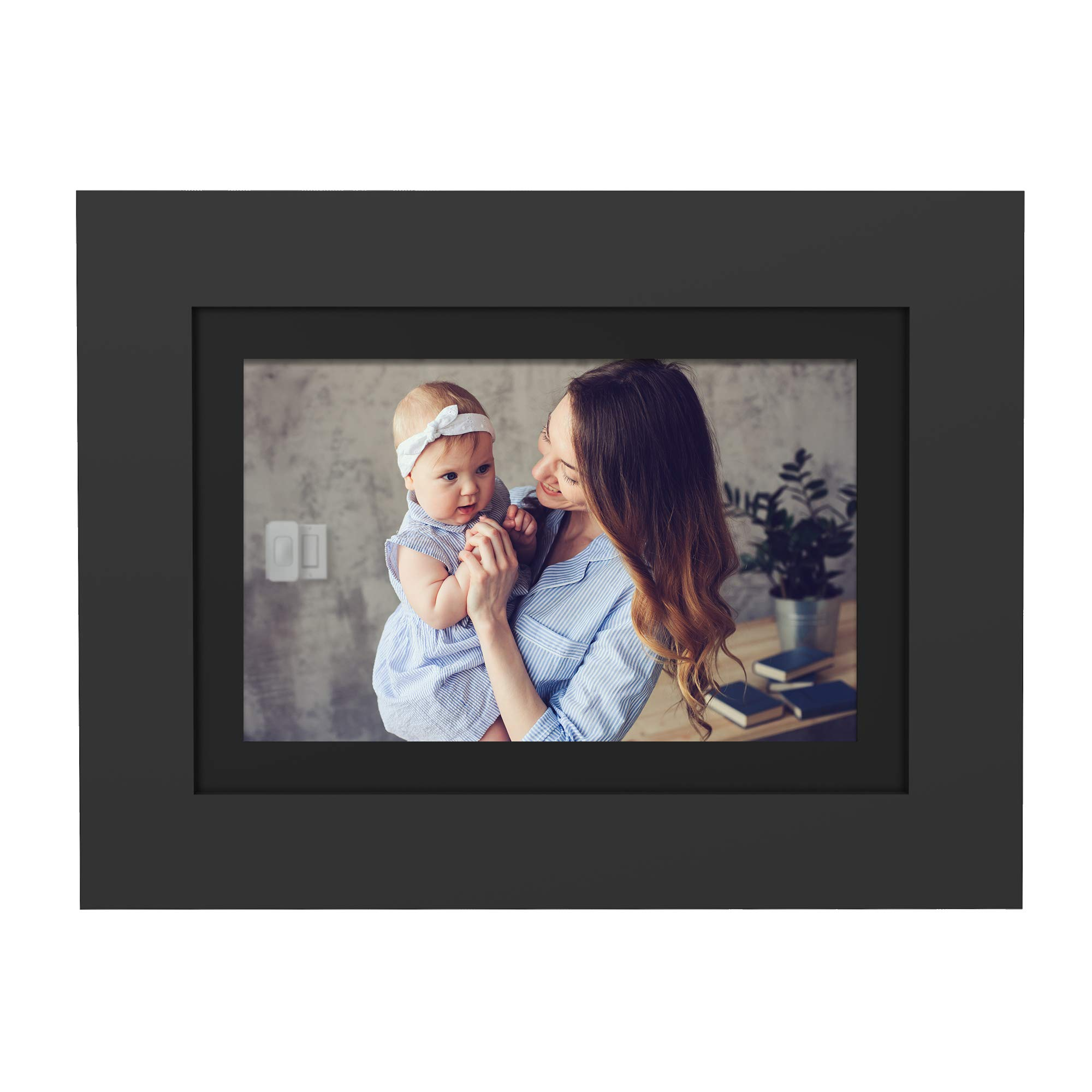 PhotoShare Friends and Family Cloud Frame 8'' Digital Photo Frame, Send Pics from Phone to Frame, Wi-Fi, 8 GB, Holds Over 1,000 Photos, HD, 1080P, Black/White Mattes, iOS, Android by SimplySmart Home