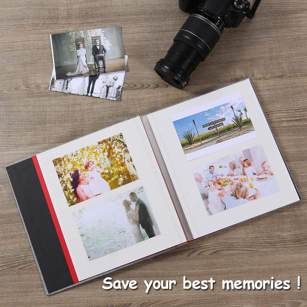with A Metallic Pen Self Adhesive Photo Album Magnetic Scrapbook Album 40 Magnetic Double Sided Pages Fabric Hardcover DIY Photo Album Length 11 x Width 10.6 White Inches