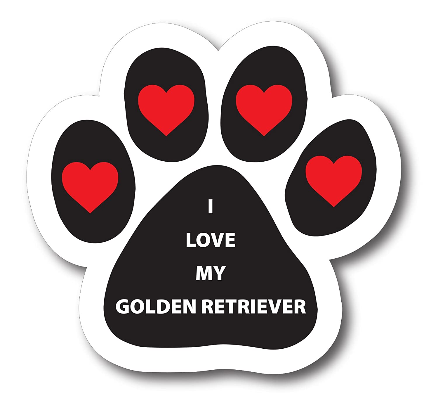 Magnet Me Up I Love My Golden Retriever Pawprint Car Magnet Paw Print Auto Truck Decal Magnet P-88