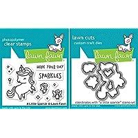 Lawn Fawn - A Little Sparkle - Unicorn Stamps Set and Dies Set - 2 Item Bundle