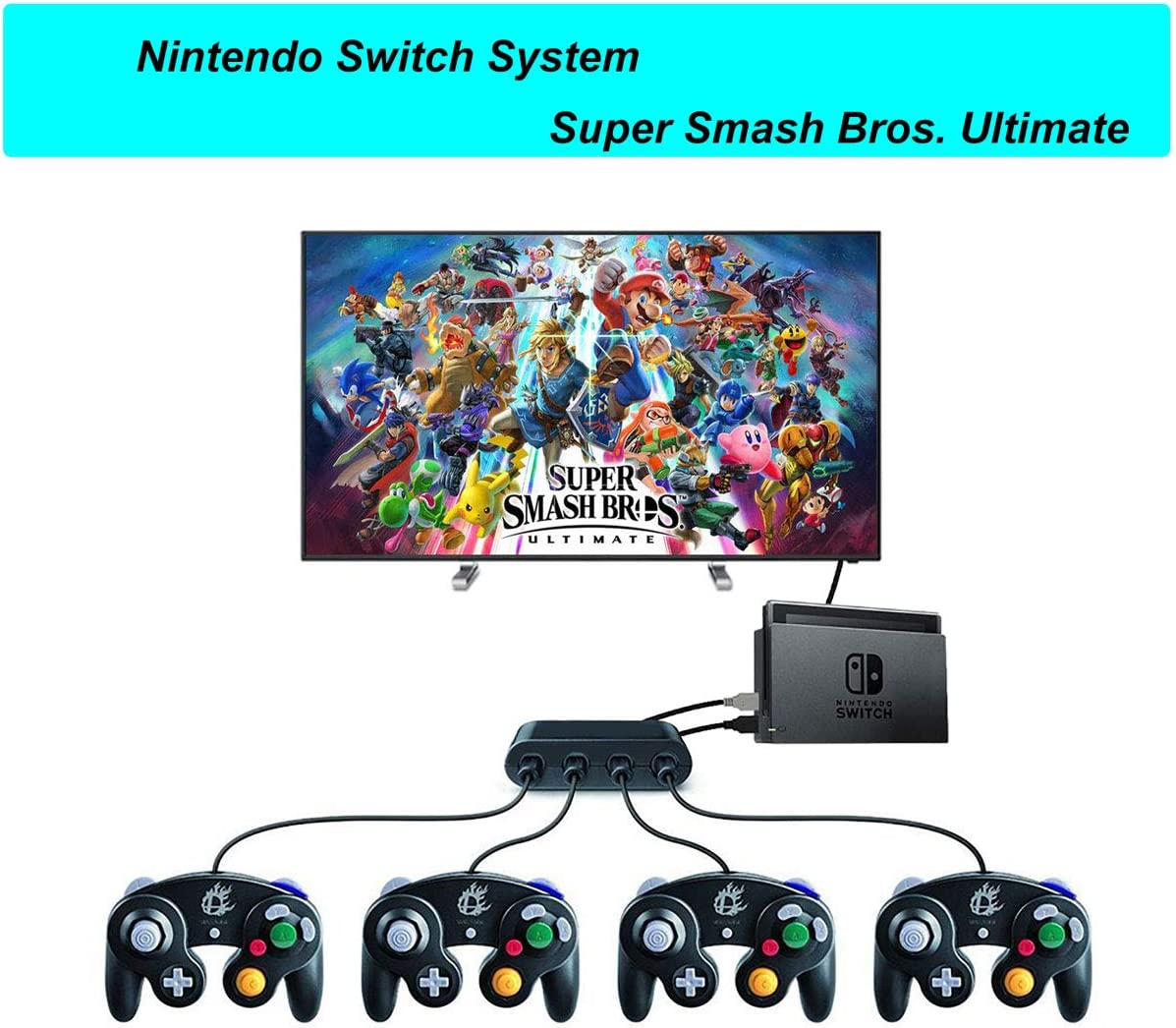 Super Smash Bros Switch, Gamecube Controller Adapter for Nintendo Switch, Wii U and PC USB, Gamecube NGC Controller Adapter with 4 Ports Black- No Need Driver: Amazon.es: Electrónica