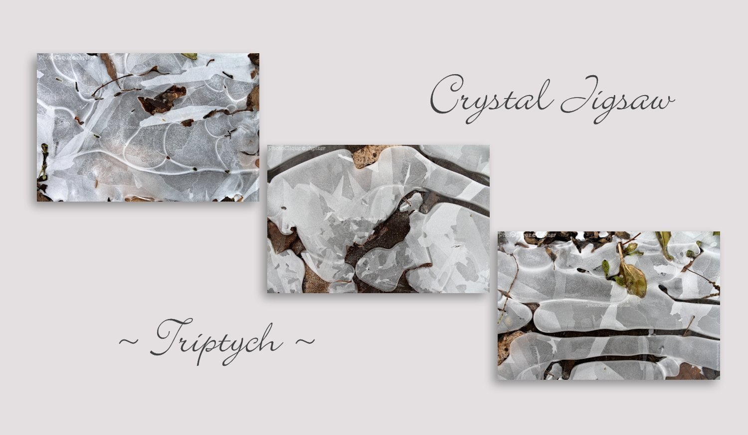 Crystal Jigsaw Triptych/ Abstract Ice Patterns/ Winter, Nature/ Set of 3 Fine Art Photography Prints