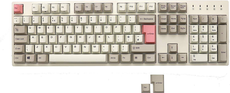 Durgod Taurus K310 Teclado mecánico de tamaño completo - 105 teclas - Coloración PBT - USB tipo C - Diseño británico (Cherry Red, Blanco)