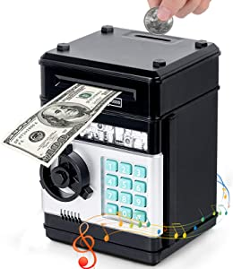 Electronic Piggy Bank for Cash and Coin Kids Safe Money Bank Mini ATM Machine Auto Scroll Paper Money Password Toy Safe Birthday Xmas Toy Gifts for Kids Age 3 Years and Up Black
