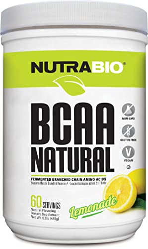 NutraBio BCAA Natural Powder – 60 Servings Lemonade
