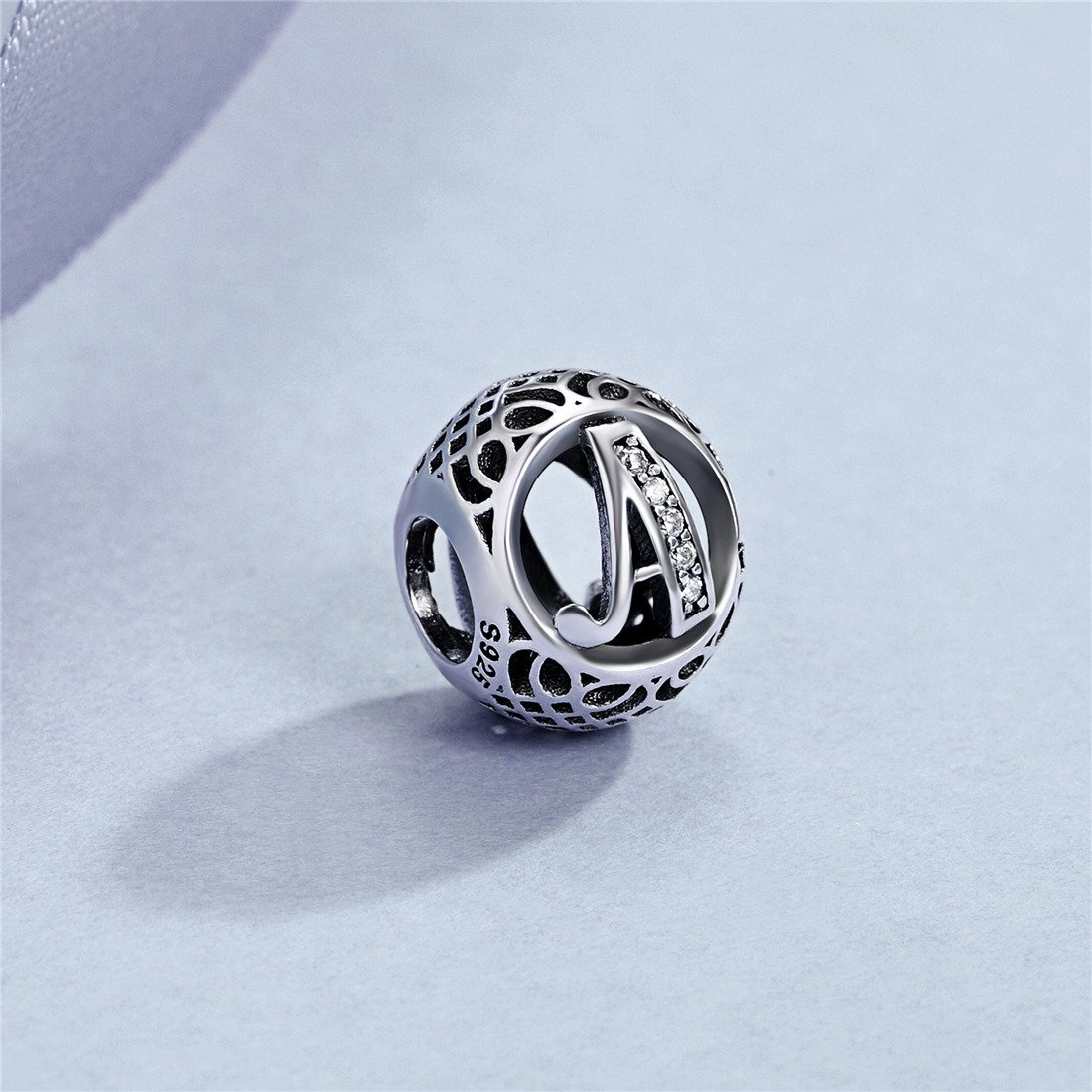 Sterling Silver Alphabet Letter A-Z Charms Initial Cubic Zirconia Charms Beads for Bracelets Necklaces
