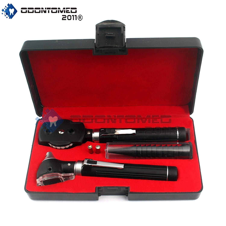 OdontoMed2011® Diagnostix Fiber Optic Otoscope Set, with Hard Case/Complete Diagnostic Set-White Bright Led Light + 2 Free Replacement Bulbs (Black)