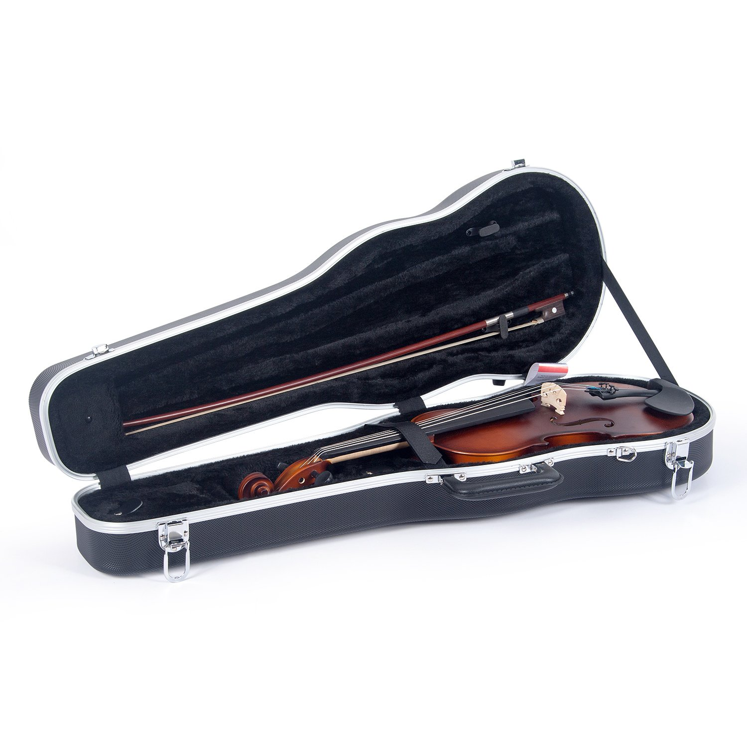 Crossrock CRA860SVFBK ABS Molded Shaped Violin Case-Backpack Style in Black (CRA800SVFBK