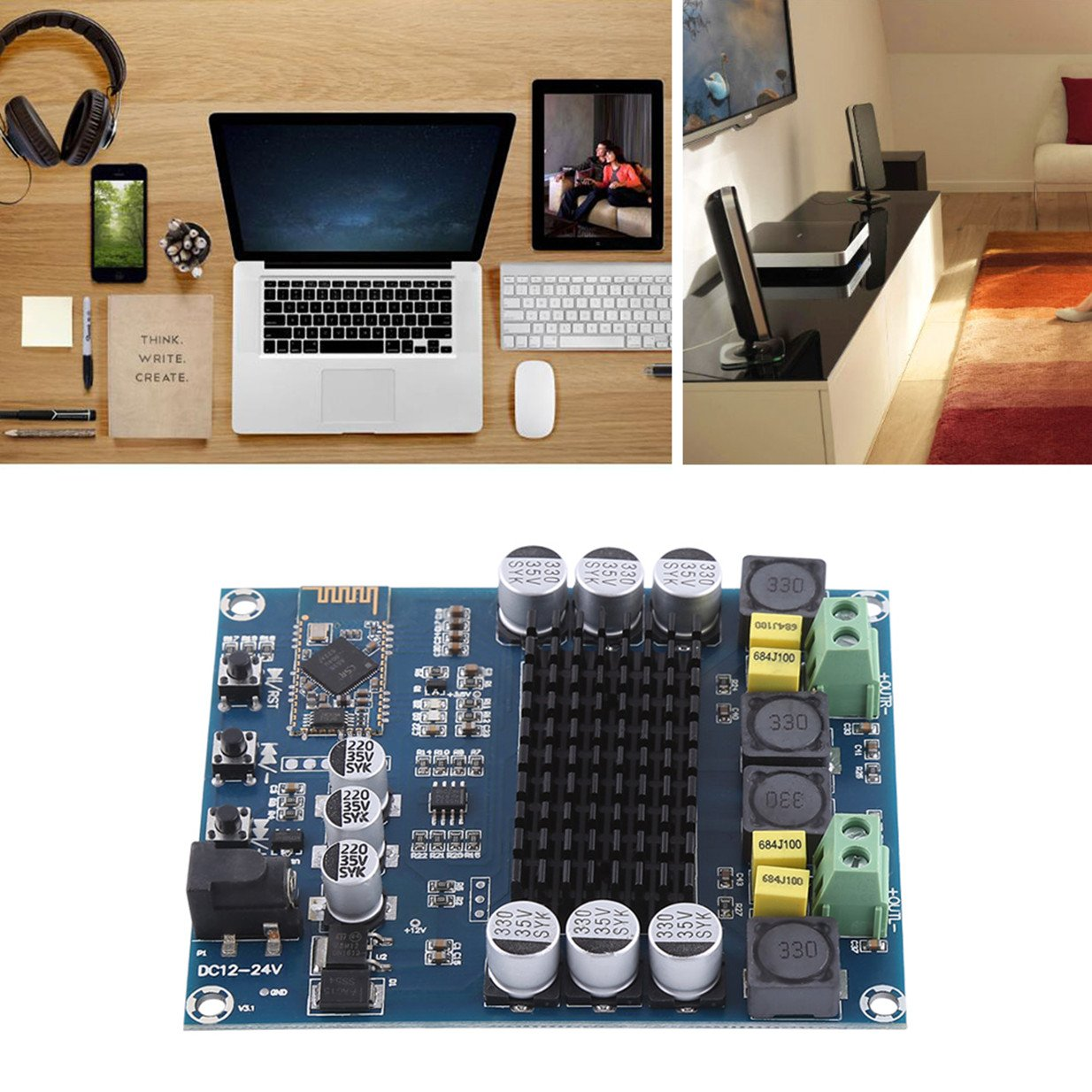 Tpa3116d2 Wireless Bluetooth 40 Dual Channel 120w Class D Amplifier Circuit Tpa3118d2 Subwoofer Audio Receiver Digital Board Dc 12v 24v For Diy Home Sound Car Musical