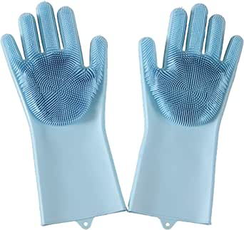 Dishwashing Gloves, Silicone Scrubbing Gloves with Long Soft Bristles, Heat Resistant Reusable Brush, Used to Wash Dishes, Kitchen, Car, Bathroom Cleaning, Pet Grooming - by Hi-Giene