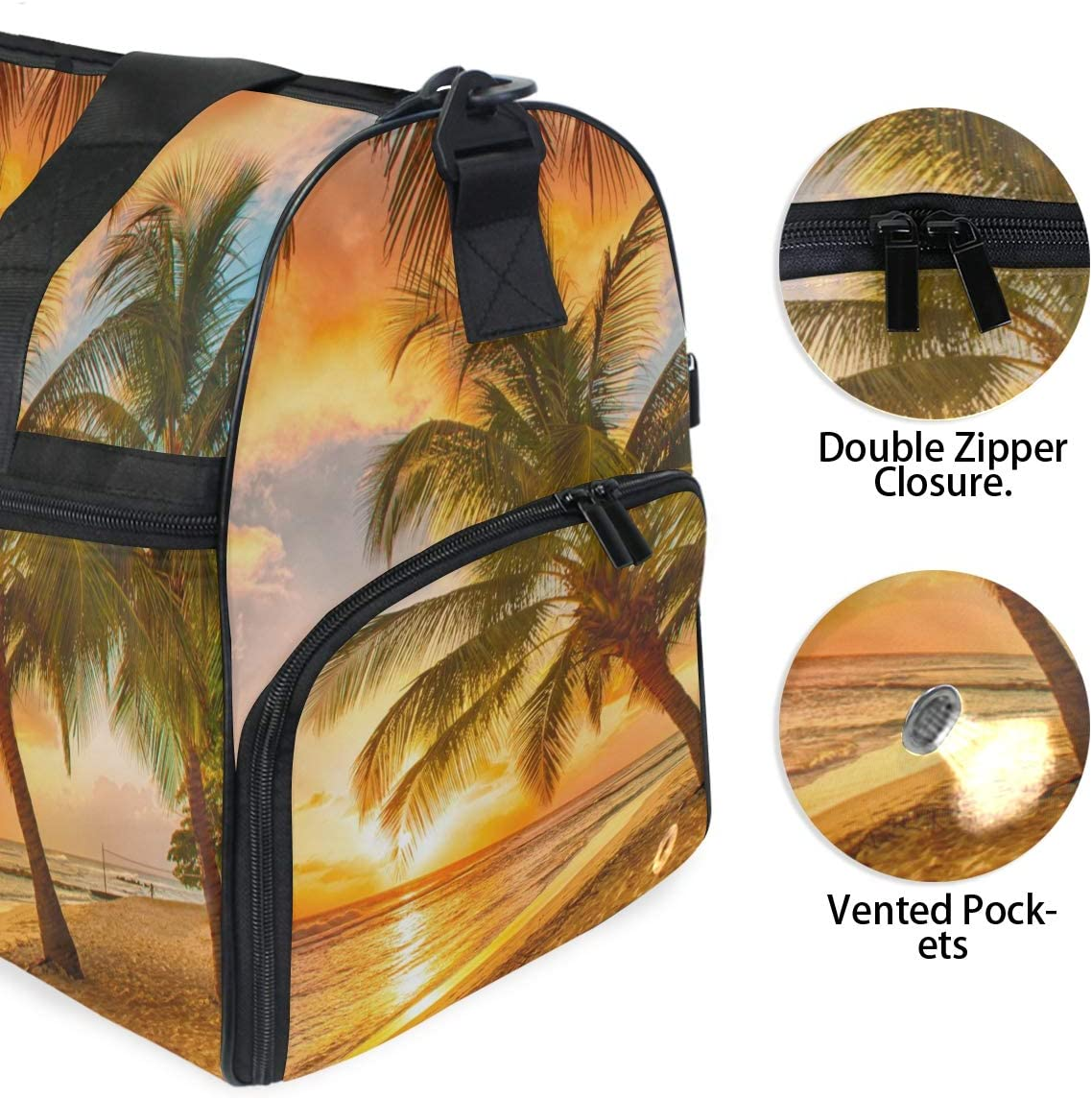 TFONE Palm Tree Ocean Sea Beach Theme Duffel Bag Sports Gym Weekend Bags with Shoe Compartmen