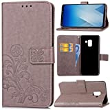 Amnirk Wallet Case Compatible with Samsung Galaxy A8 2018,Premium Emboss Flower Flip Wallet Cover,Kickstand,Wristlet,2 Card Slots, ID&Credit Cards Pocket (Gray)