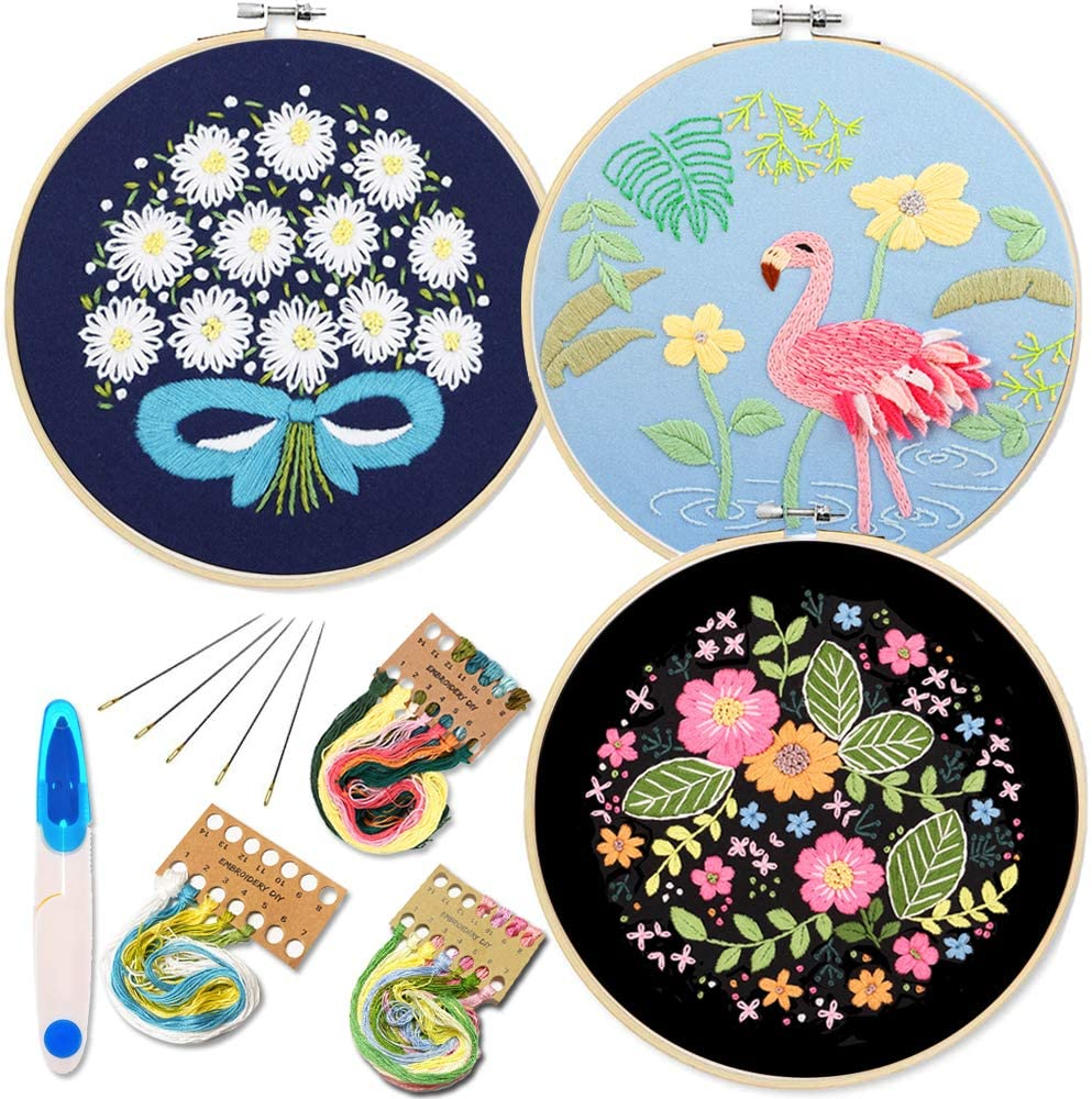 Full Range of Stamped Embroidery Kits Embroidery Starter Kit with Peacock Pattern and Instructions Embroidery kit for Beginners Cross Stitch Set