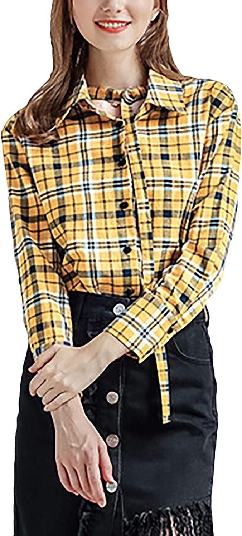 Tops Mujer Elegante Vintage Clásica Camisa Manga Larga Primavera Otoño A Cuadros De Solapa Negocios Fashion Casual Blusas Camisa De Leñador Camisas: Amazon.es: Ropa y accesorios