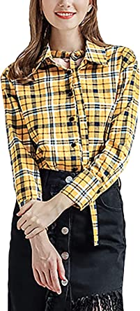 Tops Mujer Elegante Vintage Cuadros Camisa A Clásica Primavera Otoño Manga Larga De Modernas Casual Solapa Un Solo Pecho Fashion Casual Blusas Camisa De Leñador Camisas: Amazon.es: Ropa y accesorios