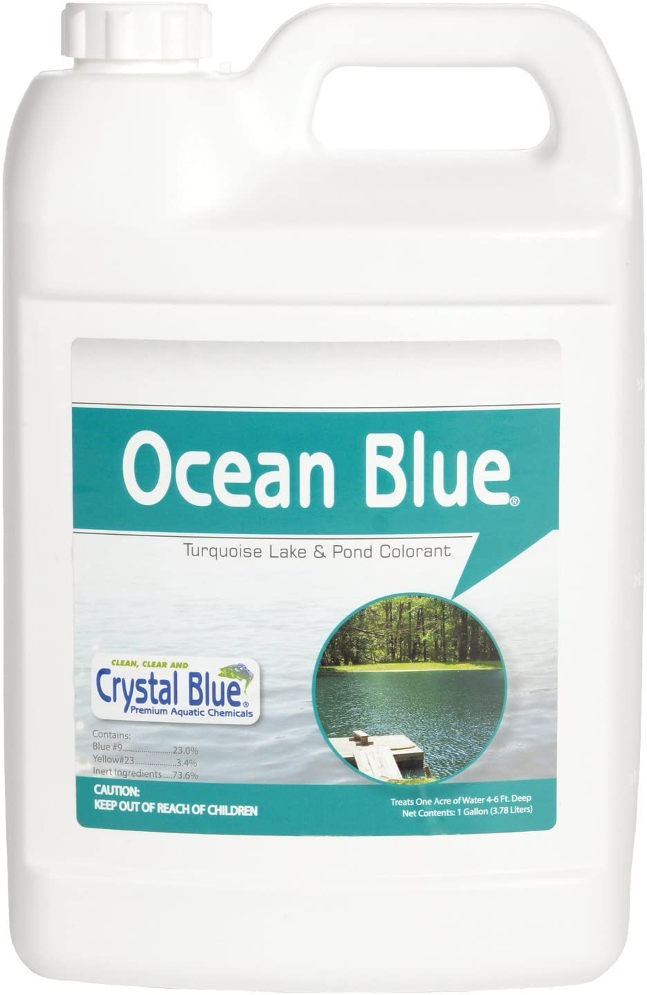 Sanco Industries Crystal Blue Ocean Blue Pond Dye - Aqua Blue Color - 1 Gallon