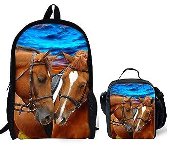 d270673afe43 Horeset Backpack Animal Print School Rucksack College for Student Book Bag  (Horse Backpack+lunch bag)