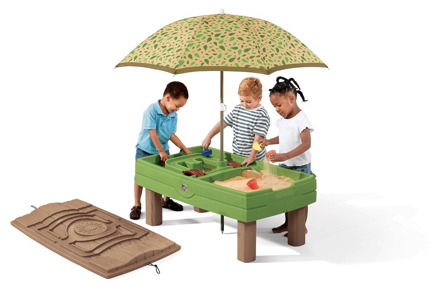 Step2 787800 Naturally Playful Sand & Water Center - Umbrella & Toys Included (Deluxe Pack - Includes Umbrella & Accessories)