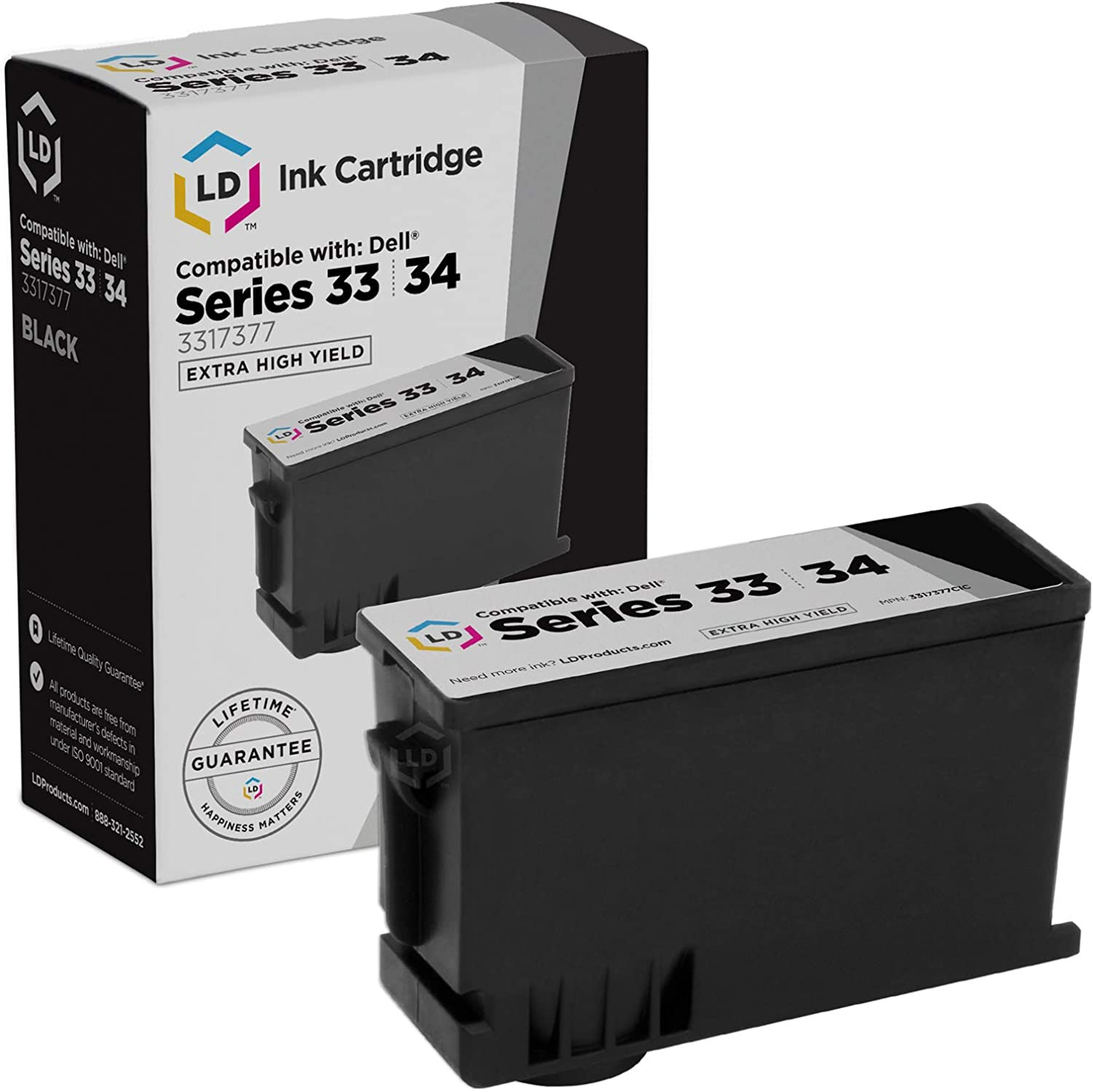 LD Compatible Ink Cartridge Replacement for Dell 331-7377 T9FKK Extra High Yield (Black)
