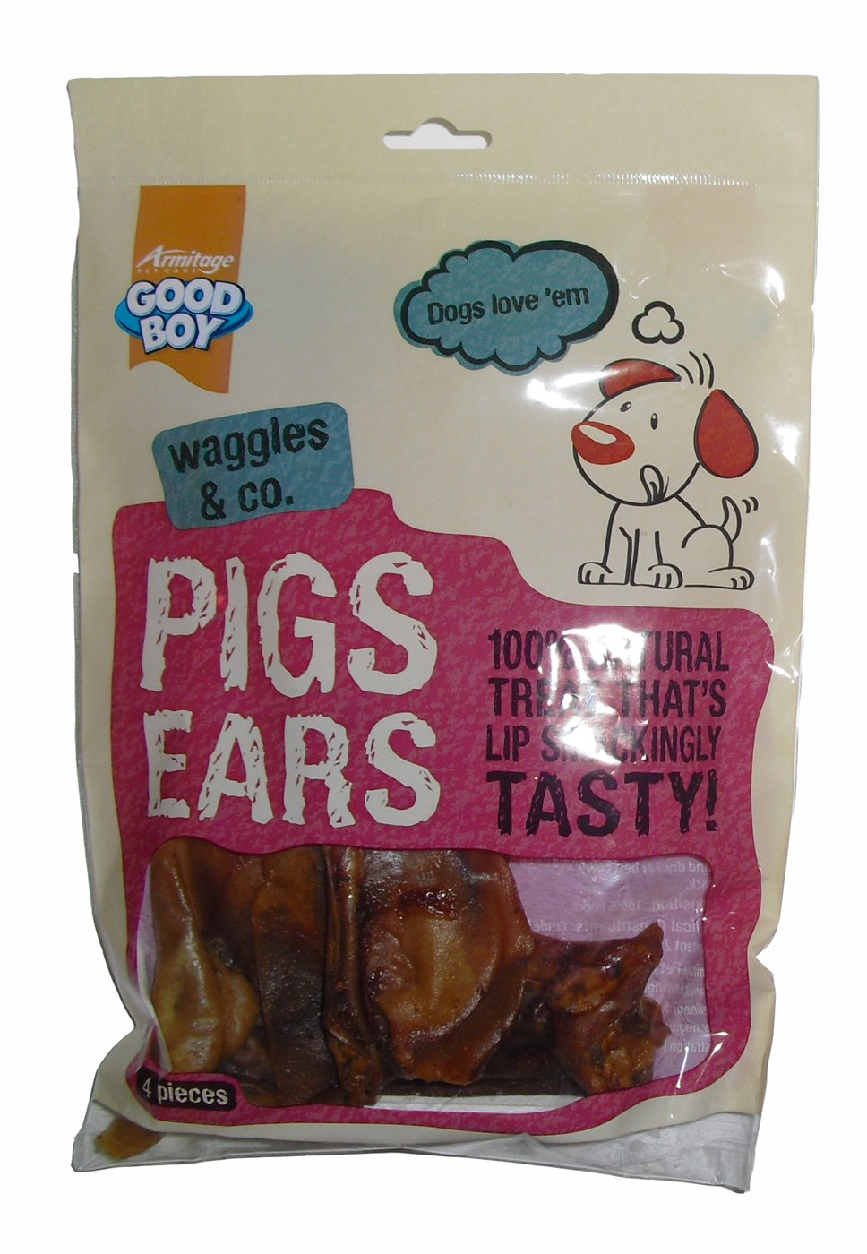 Good Boy Waggles & Co Pigs Ears 4 Pack 60g (Pack of 8)