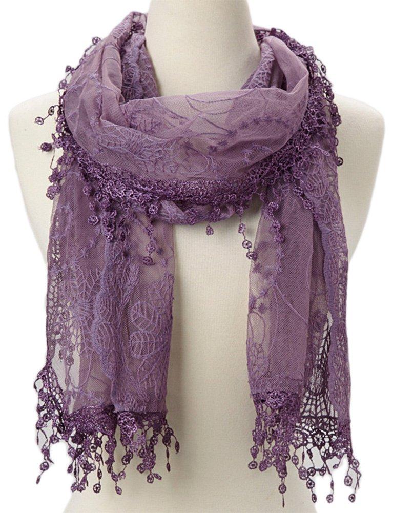 Women's lightweight Feminine lace teardrop fringe Lace Scarf Vintage Scarf Mesh Crochet Tassel Cotton Scarf for Women,One Size,Purple