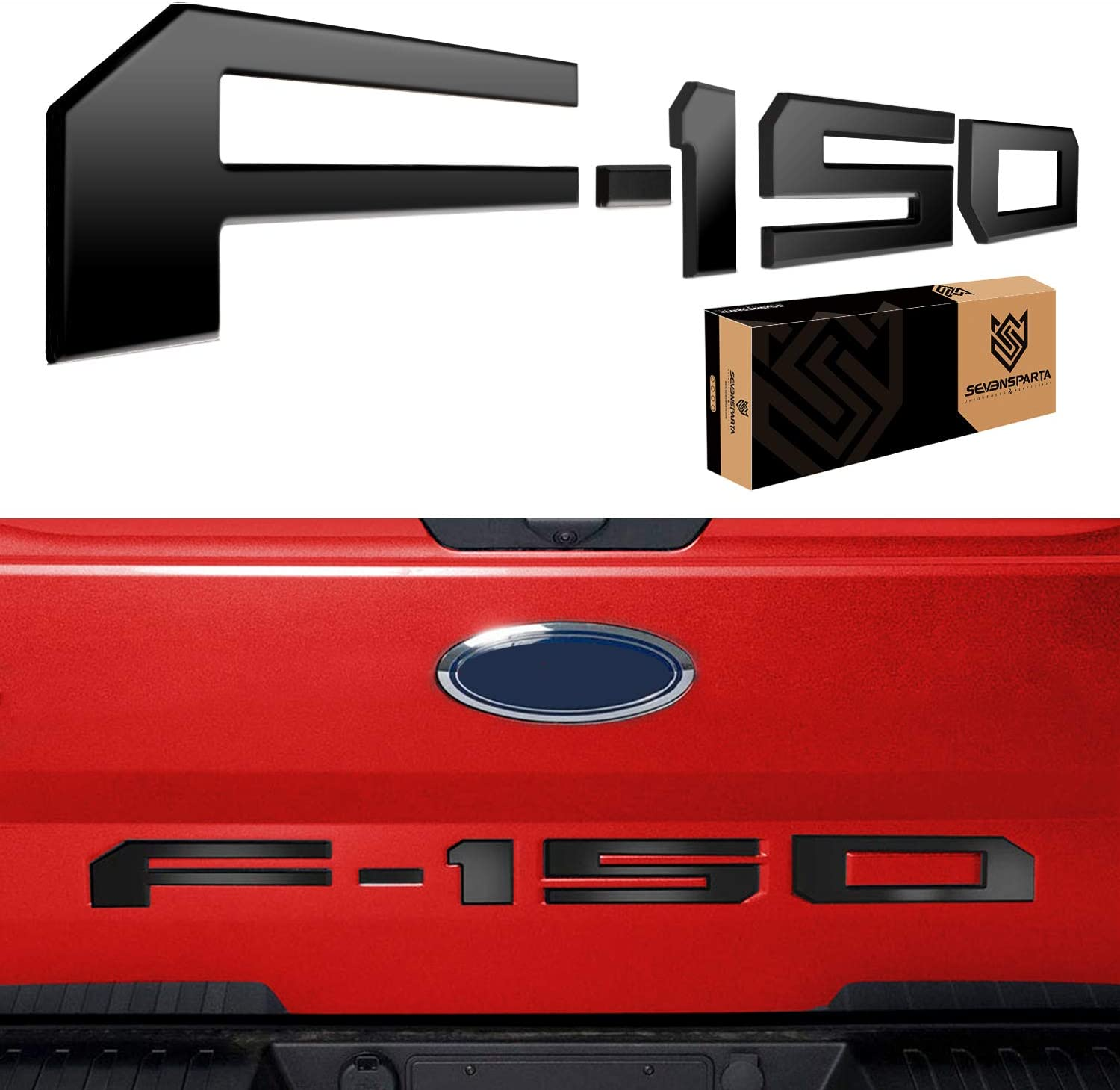 Tailgate Insert Decals Letters Matte Black CarMqx 3D Raised Tailgate Letters for Ford F150 2018-2019 Emblem Inserts