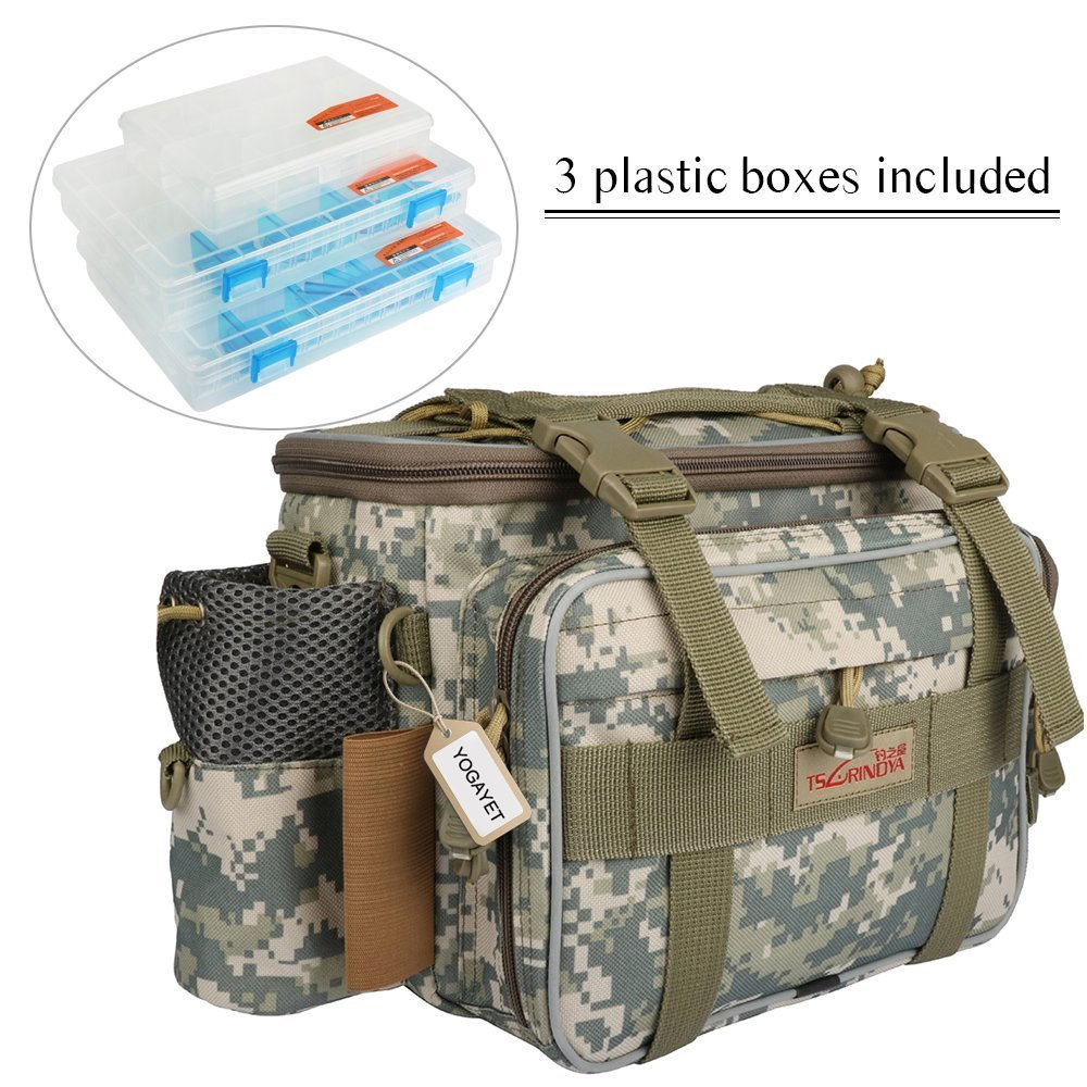 YOGAYET Portable Outdoor Fishing Tackle Bag Multifunctional Lure Waist Fanny Pack Water-Resistant Soft Sided Shoulder Carry Strap Storage (With three trays(Camo)