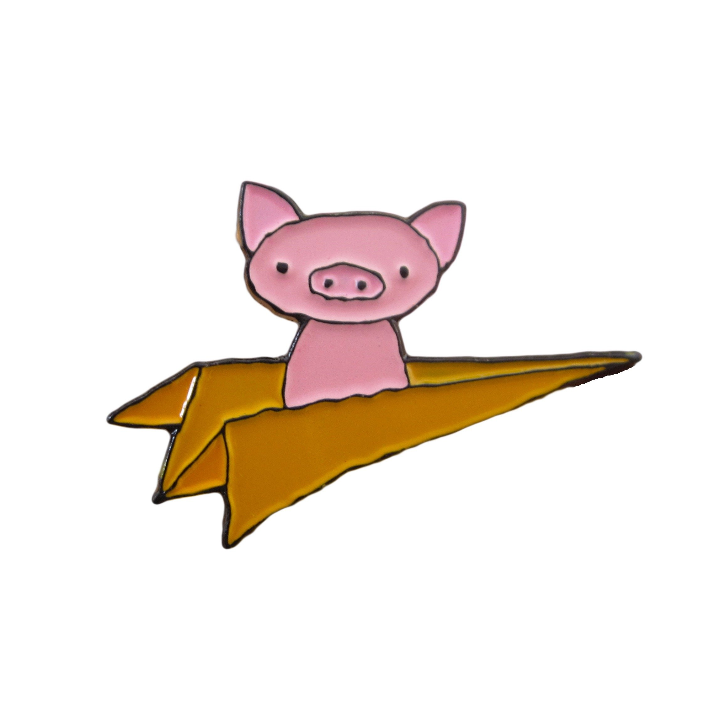 Mark Poulin Soft Enamel Pin, Flying Pig, Yellow