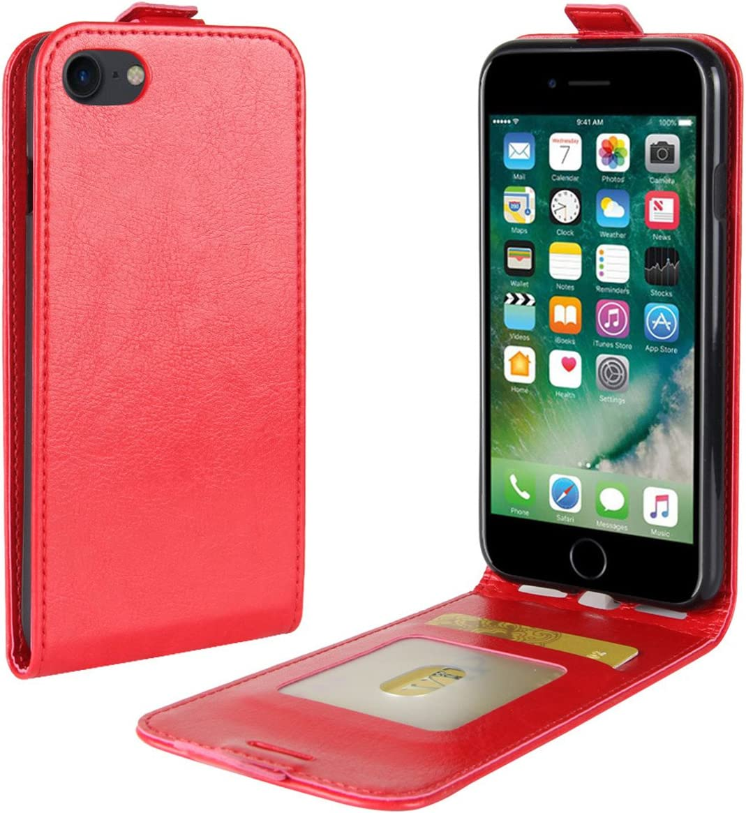 iPhone 7 Case, iPhone 8 Case, Gift_Source [Card Slot] Premium PU Leather Vertical Flip Folio Case Slim Fit Up-Down Open Protective Magnetic Cover for Apple iPhone 7 / iPhone 8 (4.7